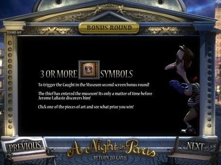 Правила бонусной игры в автомате A Night in Paris