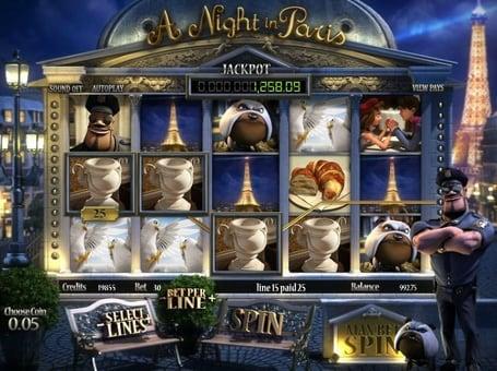 Выигрышная комбинация символов в автомате A Night in Paris
