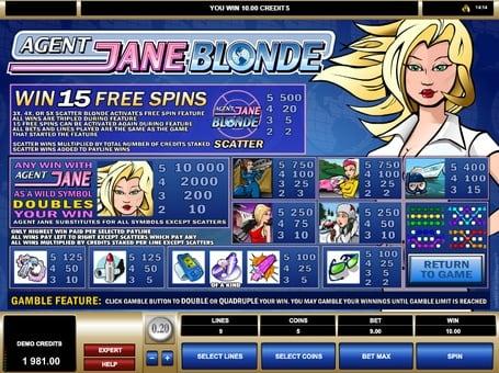 Таблица выплат в игровом автомате Agent Jane Blonde