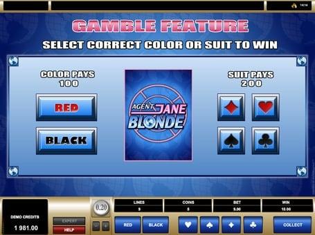 Риск-игра в автомате Agent Jane Blonde