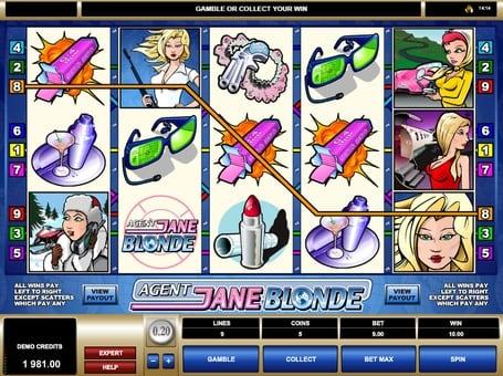Выигрышная комбинация в автомате Agent Jane Blonde