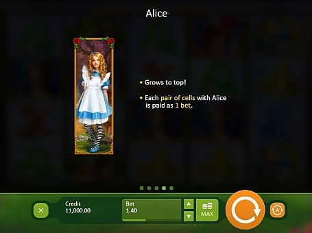 Бонусный символ в автомате Alice in Wonderland