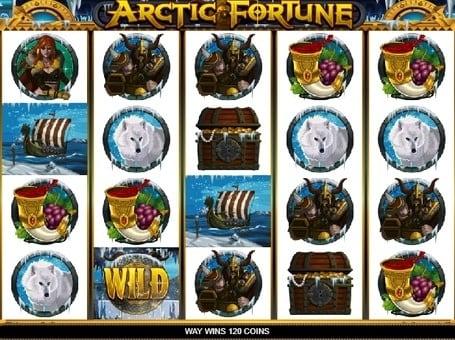 Выигрышная комбинация с символом Wild в автомате Arctic Fortune