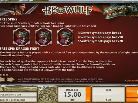 Фриспины в игровом автомате Beowulf