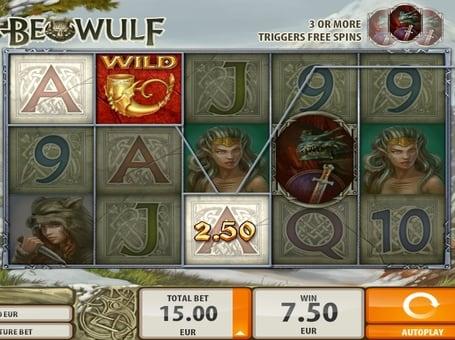 Выигрышная комбинация с символом Wild в автомате Beowulf