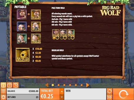 Таблица выплат с дикими знаками в игровом автомате Big Bad Wolf