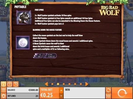 Таблица выплат с фриспинами и особенностями игрового процесса Big Bad Wolf