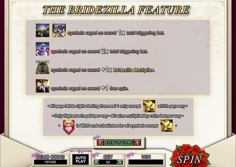 Бонусная функция в игровом автомате Bridezilla