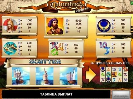 Таблица выплат в игровом автомате Columbus Deluxe