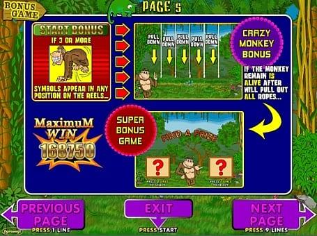 Бонусная игра в автомате Crazy Monkey