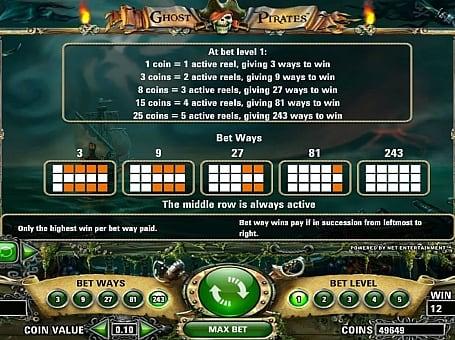 Правила и линии выплат игрового автомата Ghost Pirates