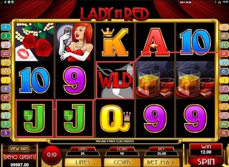 Выигрышная комбинация со знаком Wild в автомате Lady in Red