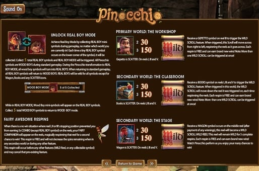 Правила игры в автомате Pinocchio