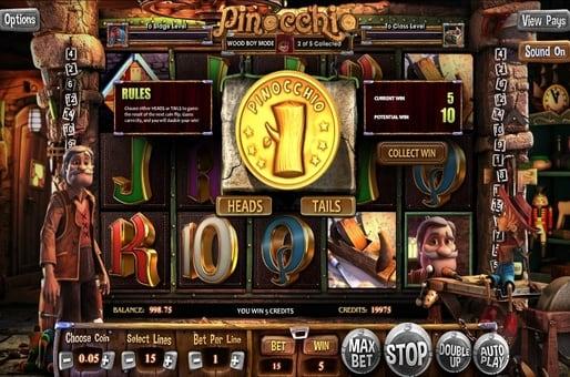 Риск-игра в автомате Pinocchio