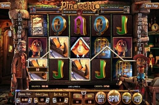 Выигрышная комбинация символов в автомате  Pinocchio