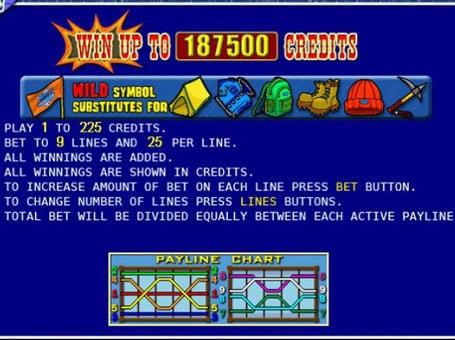 Таблица выплат в игровом автомате Rock Climber: символы и коэффициенты
