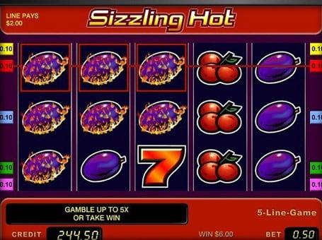 Выигрыш по фиксированной линии автомат Sizzling Hot
