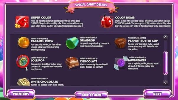 Бонусные функции в игровом автомате Sugar Pop