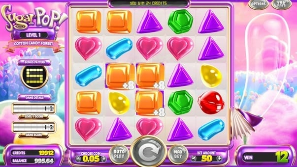 Выигрышная комбинация символов в автомате Sugar Pop